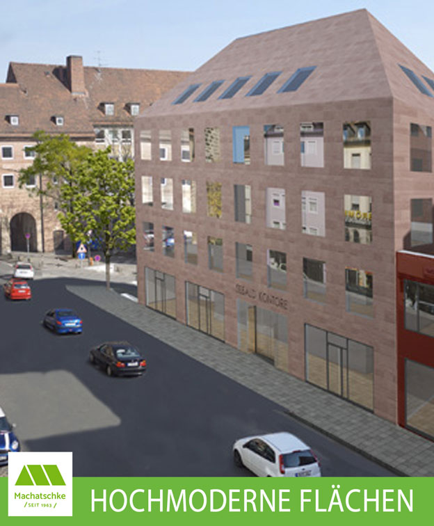 Neubau im Herzen der Nürnberger Altstadt Außergewöhnliche Ladenflächen in einem hochmodernen Gebäude