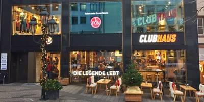 Laden in der Nürnberger Fußgängerzone an den 1.FCN vermietet
